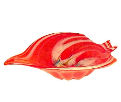 Italian Art Glass Dish Bowl Ashtray Vintage Orange Red White Multi Color Swirl
