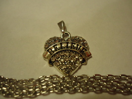 Clear Gemstone Believe Heart Necklace **Combined Shipping** (1483) - $3.50