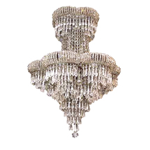 "AM8800: Cascading Smoky Crystal Golden Heart Chandelier (18""-28"" W) $1,680+ - $1,680.00"