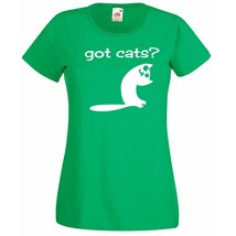 Womens T-Shirt Cute Cat Quote Got Cats?, Funny Kitty TShirt, Smiling Cat... - $24.74