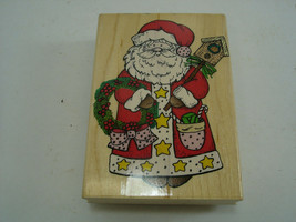 Santa With Birdhouse 1996 Wooden Rubber Stamp Hero Arts H1103 Large Size USA - $12.44