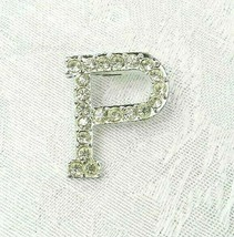 "Vintage Letter ""P"" Brooch Pin 1-1/8"" Silver Metal Clear Rhinestones - $17.81"