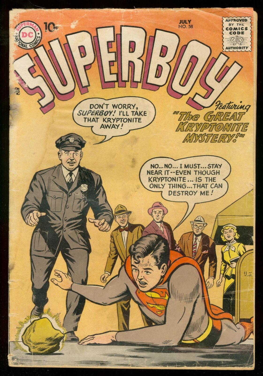 SUPERBOY #58 1957 DC COMICS KRYPTONITE COVER SILVER AGE FR