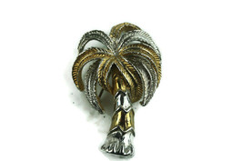 Vintage Jewelry Brooch Pin Palm Palmetto Tree Tropical Gold Silver Tone - $12.17