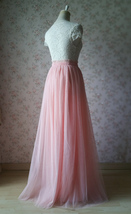 Coral Pink Tulle Skirt Bridesmaids Long Tulle Skirt High Waisted Coral Wedding image 6