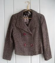 Peserico Womens US 10 IT 44 Brown Wool Tweed Button Career Blazer Jacket... - $37.72