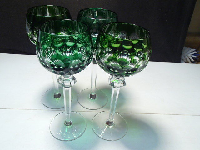 "4 Nachtmann Bohemian / Czech Colored Tall Wine Stems ~~ 8 5/8"" ~ Green"