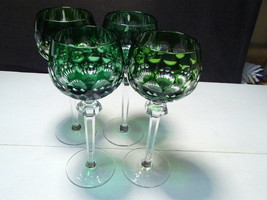 "4 Nachtmann Bohemian / Czech Colored Tall Wine Stems ~~ 8 5/8"" ~ Green - $49.99"