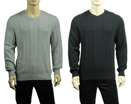 NEW MENS JA JOHN ASHFORD V NECK STRIPED COTTON PULLOVER SWEATER $50 - $13.49