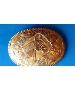 Vintage Western Belt Buckle Cowgirl Cowboy HorseHead Gold Tone Oval Engr... - $39.99