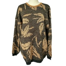 Floral Sweater Metallic Pullover Top Black Gold Large Leaves Cozy Vinta... - $16.99