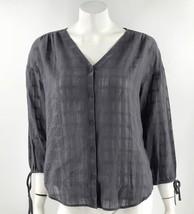 Garnet Hill Top Size 10 Gray Semi Sheer Tie Sleeve Boho Blouse Cotton Wo... - $29.70