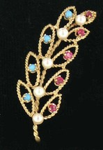Vintage 14k Gold Filigree Ruby Persian Turquoise Pearl Leaf Open Work Pi... - $359.99