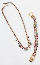 Ruby AB Round, Navette Necklace & Bracelet Wedding Jewelry Set Wedding C... - $62.95