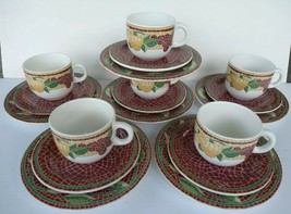 PIER 1 Mosaic Fruit Salad Dessert Plates Coffee Cups Mugs Saucers 18 Pcs Set - $89.99