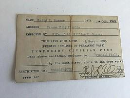 Military World War II Married Wife's Military Civilian Pass 1945 Panama ... - $18.31