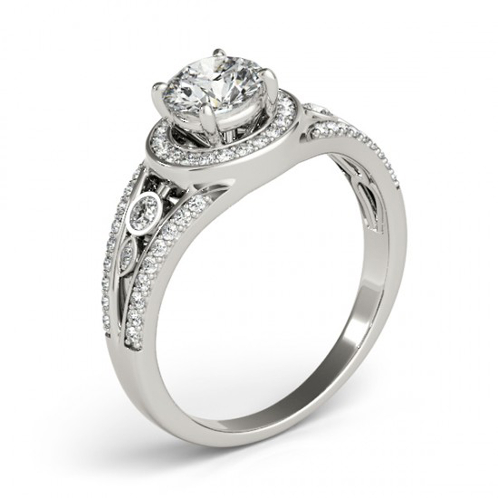Engagement Wedding Ring In White Gold Plated Sterling Silver Round Cut White CZ