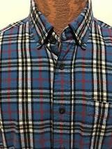 L.L. Bean Mens M Reg Blue Plaid Brushed Cotton Button-Down Long-Sleeve S... - $32.83