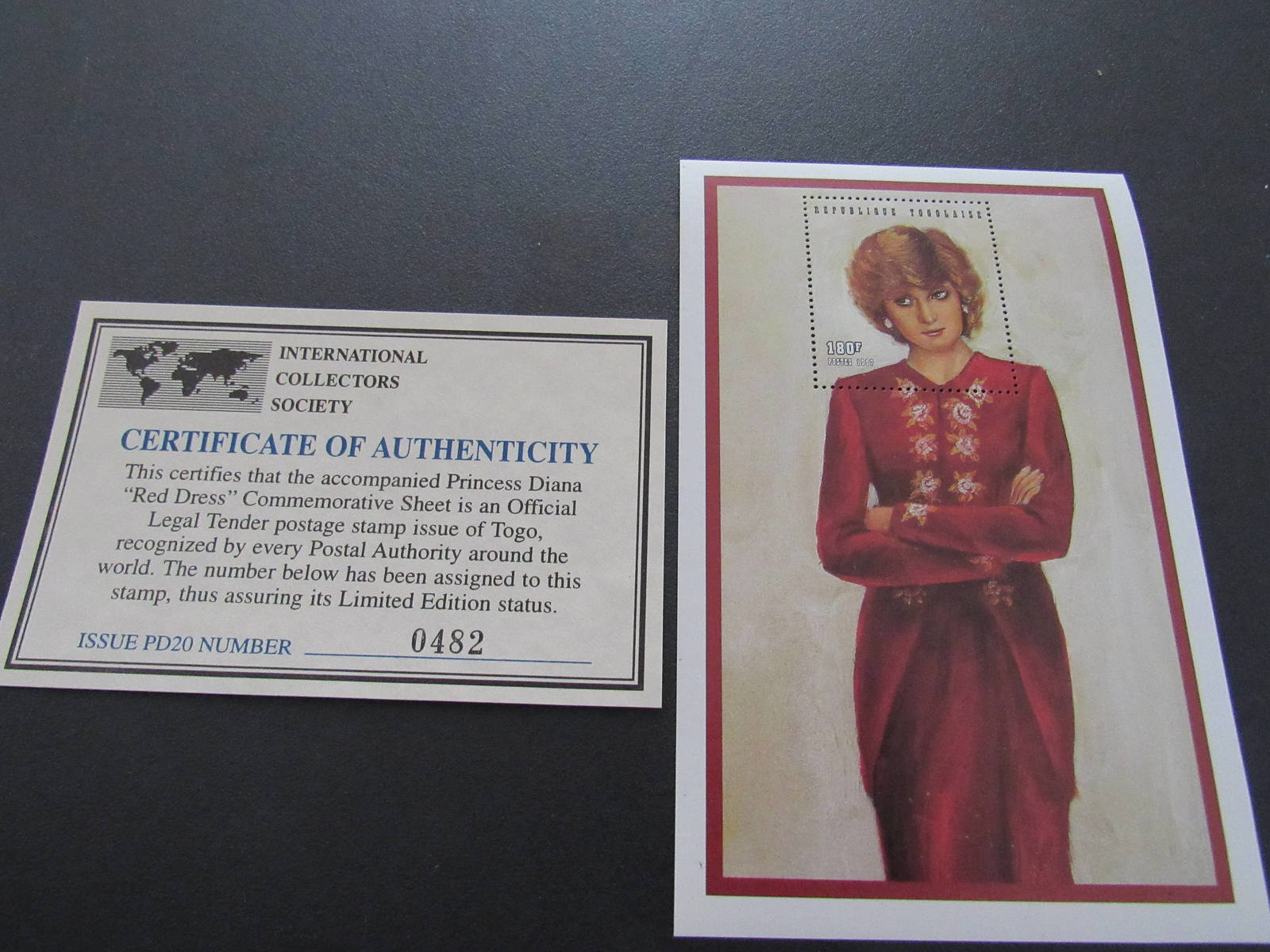 """Princess Diana """"Red Dress"""" Commemorative Sheet Stamp - Limited Printing - Offici"""