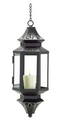 Black hanging Asian metal glass patio deck den room candle holder lantern lamp