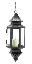 Black hanging Asian metal glass patio deck den room candle holder lanter... - $18.00