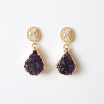 Druzy earrings designer purple gold jewellery party thumb200