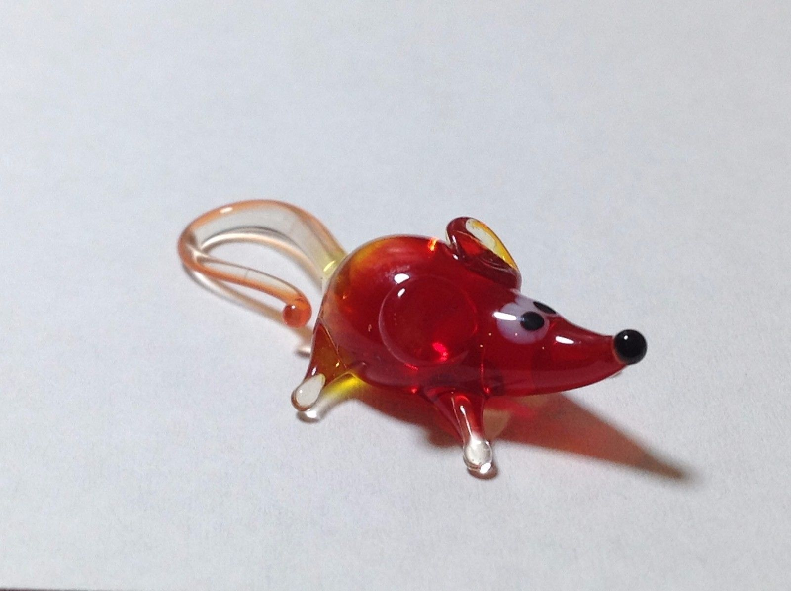 Miniature Glass red mouse  Handmade Blown Glass Collectible USA