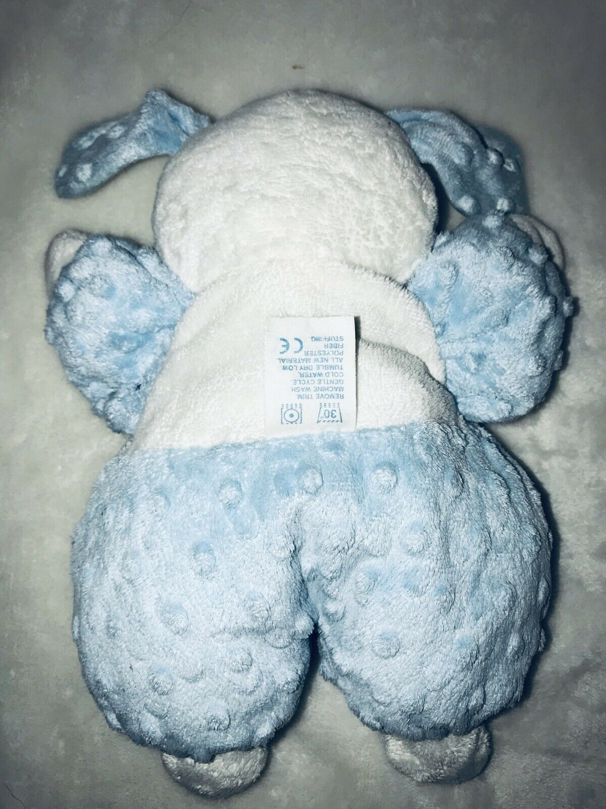 Kids Preferred Blue White So Cute Puppy Dog Minky Dot Plush Stuffed Baby Toy HTF image 2