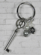 Skeleton Key Heart Glass Clay Beaded Handmade Keychain Split Key Ring Bl... - $14.54