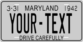 Maryland 1942 License Plate Personalized Custom Car Bike Motorcycle Moped Tag - $10.99+