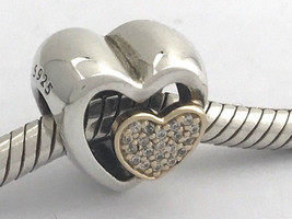 Authentic Pandora Joined Together Silver &14K Heart Charm 791806CZ NEW - $81.69