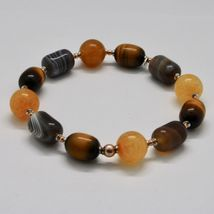 Bracelet in Sterling Silver 925 Laminate Rose Gold with Tiger's Eye Jade Chal... image 8
