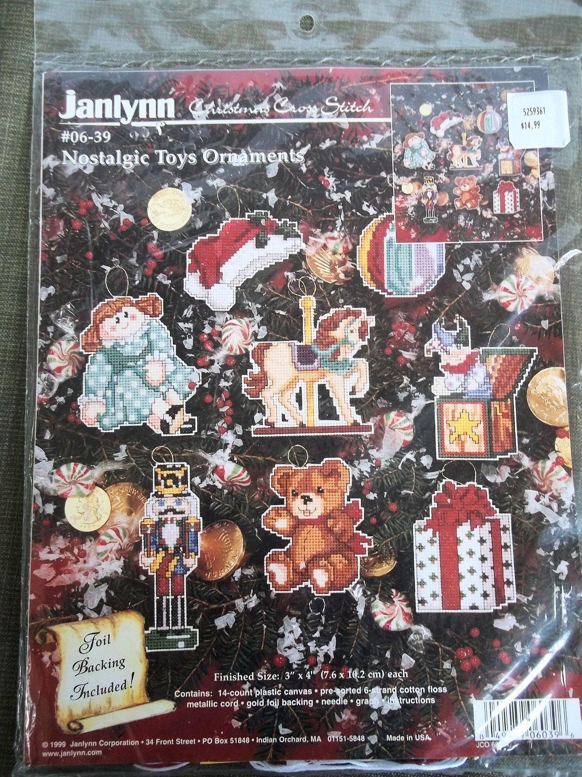 Nostalgic Toy Ornaments 06-39 Janlynn NOS Plastic Canvas Christmas Kit
