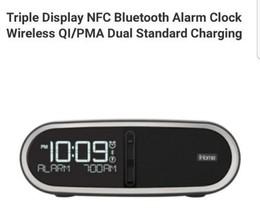 Triple Display NFC Bluetooth Alarm Clock Wireless QI/PMA Dual Standard C... - $227.68