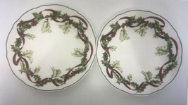 Charter Club Winter Garland Ribbon Holly Berries Scalloped Edge 2 Lunche... - $19.68