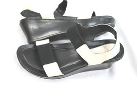 Dansko White Leather Black Stretch Slip on Sandal's  Wedges Size 37 US 7 - $39.60