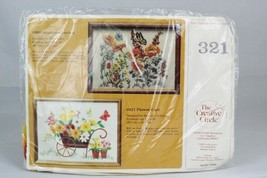 Vintage 1981 The Creative Circle Flower Cart Crewel Embroider Kit 0321 - $16.82