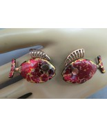 Vintage Matisse Fish Earrings Copper Red Enamel Clip On Round Eyes Open ... - $29.69