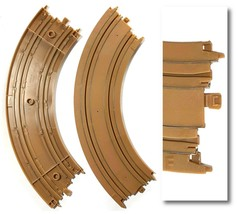 """2pc Tyco Mattel Ho Slot Car Track 1/4 9"""" Curve Track Brown Dirt Racing Track Nos - $3.46"""