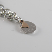 925 RHODIUM SILVER JACK&CO BRACELET WITH 9KT ROSE GOLD HEART LOVE  MADE IN ITALY image 2
