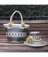 Combo Handmade Colombian Iraka Straw Basket And Hat sombrero Y Canasta W... - $180.00