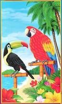 Tropical Scene Setter PARROT TOUCAN DOOR MURAL Luau Party Decoration Pro... - $4.92