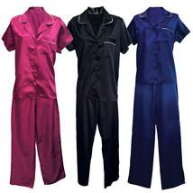 Womens Vintage Satin Button Down Night Shirt Top and Pants Bottoms Pajamas Set - $18.99