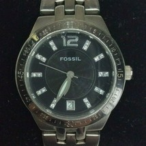 Fossil Silver Tone Ladies Watch with Black Face AM-4083 New Battery - $34.65