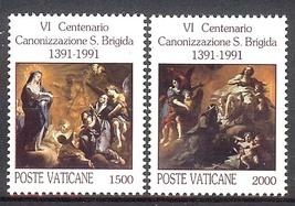 1991 Canonization St Bridget Set of 2 Vatican Stamps Catalog Number 888-89 MNH