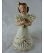 "Vintage Porcelain Figurine Flower Girl w porcelain lace 5.25"" Tall white... - $14.84"