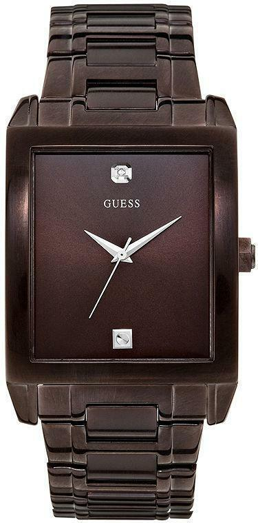 Primary image for BRAND NEW GUESS U0102G1 BROWN STAINLESS STEEL DIAMOND ACCENT DIAL MEN'S WATCH