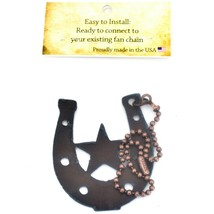 Country Western Rusted Patina Iron Metal Cutout Horseshoe Fan Light Pull Chain image 2