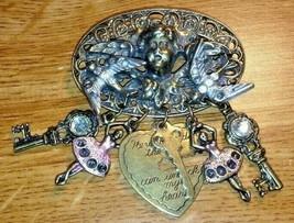 Vintage antique bronze Cherb Angel Doves Pin Brooch & Charms Ballerina k... - $30.00