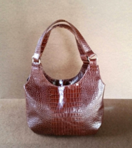Original Brown Leather Shoulder Bag w/ Textured, Everyday Small Purse, Bony - $92.74